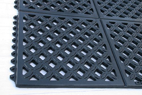 Rhino Mats DX-2436B Rhino Drain-x Diamond Drain-Thru Anti-Fatigue Interlocking Mat, 24