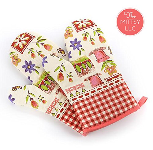 Set of Two Oven Mitts | Heat Resistant Cotton Kitchen Pot Holder Gloves for Cooking,Barbecue,Baking,Grilling (Colorful Flower Design)