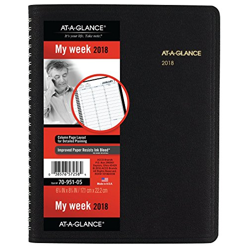 AT-A-GLANCE Weekly Appointment Book / Planner, January 2018 – January 2019, 6-3/4″ x 8-3/4″, Black (7095105)