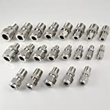 "304 Stainless Steel 3/8"" x 10MM Double Ferrule Tube Fitting, Straight Adapter,NPT Male Connector"