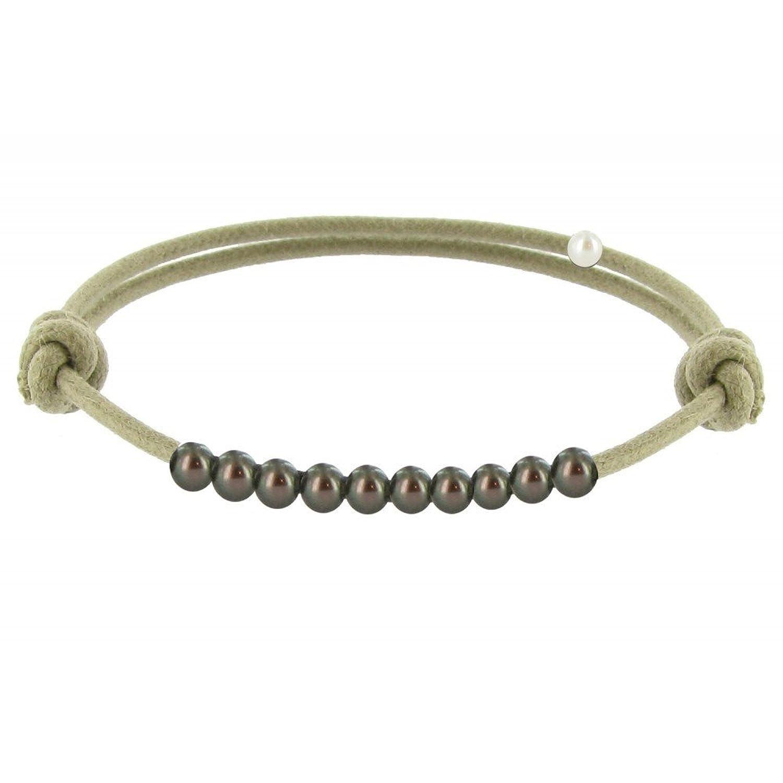 Schmuck Les Poulettes Perlen Armband - Number 10 - Dunkelgrau Perlen ...