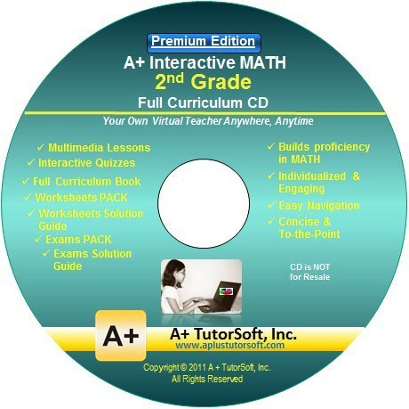 2nd Grade Math Full Curriculum SW CD Premium Edition (Windows PC - Video  Lessons, Interactive Review, Worksheets, Tests, Grading N Tracking) -