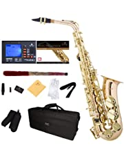 Mendini E-Flat Alto Saxophone, Rose Brass and Tuner, Case, Pocketbook - MAS-30+92D+PB