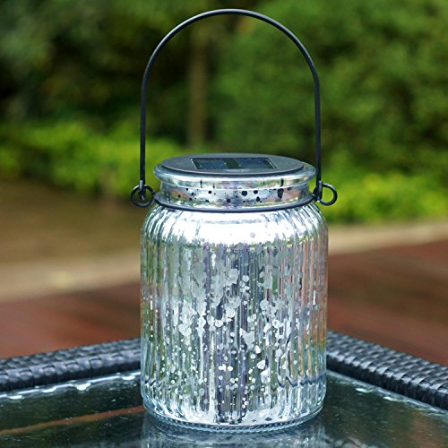 Voona 2 Pack Solar Mercury Glass Jar Hanging Outdoor Light