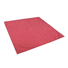 Zicac Large Stars Printed Washable No Mess Anti Slip Floor Splash Mat Protector Cover for Kids Baby Toddler Infant under Feeding Highchair (Red)
