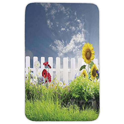 Rectangular Area Rug Mat Rug,Farm House Decor,Grass Foliage Field with Sunflowers Daisy Hedge Fence Yard Jardin,White Green Blue,Home Decor Mat with Non Slip Backing by iPrint