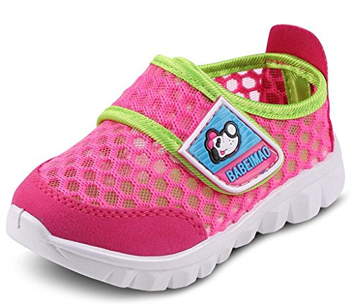 DADAWEN Baby's Boy's Girl's Mesh Light Weight Sneakers Running Shoe Rose Red US Size 12.5 M Little Kid