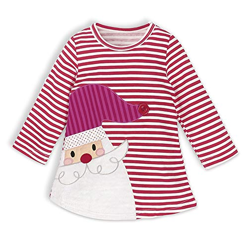 WOSENHK Baby Girls Christmas Outfits Striped Santa Claus Long Sleeve Dress (Wine red, -