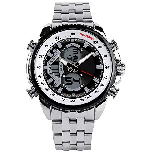 PLY Smart Watch Bracelet High-end Men's Quartz Watch,Men's Chronograph Quartz Watch with Date Black Analog Display and Stainless Steel Bracelet (Color : White)