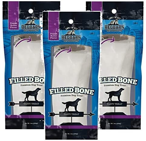 Redbarn Filled Bone, Large, Peanut Butter, 3 Pack