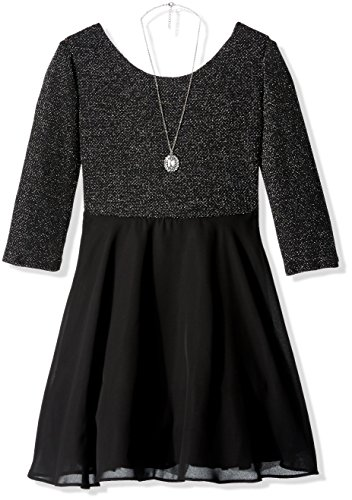 Amy Byer Girls' Big Lurex Knit Bow Back Dress with Chiffon Skirt, Silver, 16