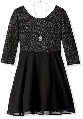 Amy Byer Spandex Skirt - Amy Byer Girls' Big Lurex Knit Bow Back Dress with Chiffon Skirt, Silver, 10