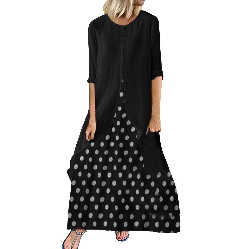 Onegirl Women's Polka Dot Print Long Sleeve Dress Casual Plus Size O-Neck Dresses Black by Onegirl Dress
