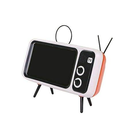 CHuangQi Soporte para teléfono con Altavoz inalámbrico Bluetooth TV Retro, Altavoz portátil inalámbrico Bluetooth con función de Banco de Potencia Soporte para teléfono Altavoz BT Audio: Amazon.es: Jardín