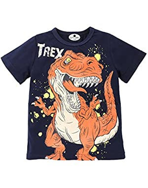 Yamally Toddler Boys' Short Sleeve T-Shirts Dinosaur Cotton Tops Tee for Kids Size 18M-6T