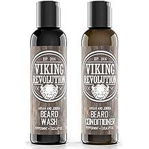 BEST DEAL Beard Wash & Beard Conditioner Set w/ Argan & Jojoba Oils - Softens & Strengthens - Natural Peppermint and Eucalyptus Scent - Beard Shampoo w/ Beard Oil 5oz by Viking Revolution