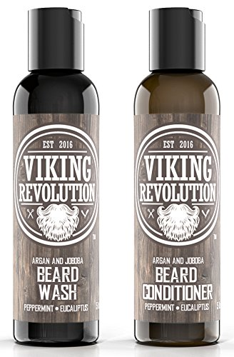BEST DEAL Beard Wash & Beard Conditioner Set w/ Argan & Jojoba Oils - Softens & Strengthens - Natural Peppermint and Eucalyptus Scent - Beard Shampoo w/ Beard Oil 5oz by Viking Revolution