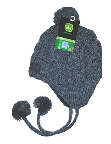 John Deere Gray Fleece Lined Knit Cap Hat with Poms