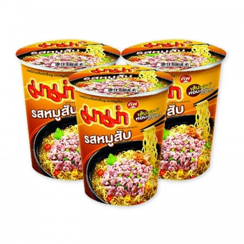 Mama Cup Instant Noodles Pork Flavor 65 g. Pack 3 (Berkshire Rib)