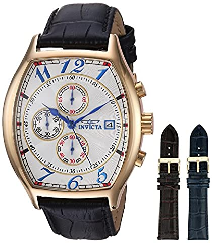 Invicta Men's 14330 Specialty 18k Yellow Gold-Plated Watch with Three Interchangeable Leather Bands (Invicta Watch Black Leather)
