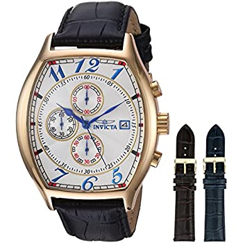 Invicta Mens 14330 Specialty 18k Yellow Gold-Plated Watch with Three Interchangeable Leather Bands