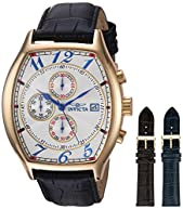 Invicta Men's 14330 Specialty 18k Yellow Gold-Plated Watch with Three Interchangeable Leather Bands
