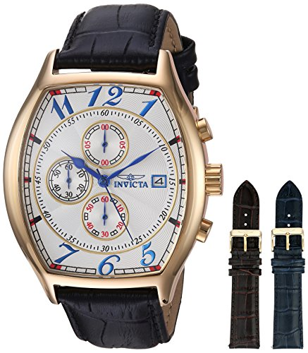Invicta Men's 14330 Specialty 18k Yellow Gold-Plated Watch with Three Interchangeable Leather Bands (Leather Wrist Watch Gold Plated)
