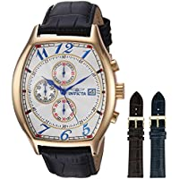 Men's 14330 Specialty 18k Yellow Gold-Plated Watch with Three Interchangeable Leather Bands