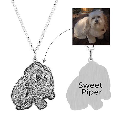 Hua Meng Personalized Pet Picture Jewelry - Custom Photo Double Sided Necklace- Silver Pet Memorial Charm Pendant For Dogs or Cats (14 (Personalized Photo Pendant)