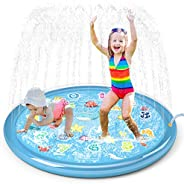 "Jasonwell Sprinkler for Kids Splash Pad Play Mat 60"" Baby Wading Pool for Toddlers Summer Outdoor Water T"