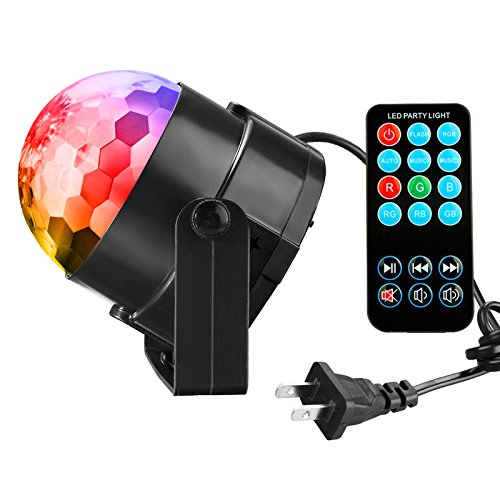 Price comparison product image Disco Ball Party Lights Vnina 3 W 7 Colors Mini Magic Stage Lighting Effects DJ Light Strobe LED Bulbs with Remote for Kids Toys Birthday Gifts Karaoke Club Bar Wedding Holiday Dance Night House Lamps