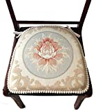 Sideli -2pc Classic Decorative Chair pad Seat Cushion with Memory Filling and 2 Belt for Fix 16''x16'' (2, Peony-Beige)