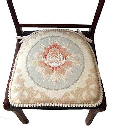 """Sideli -2pc Classic Decorative Chair pad Seat Cushion with Memory Filling and 2 Belt for Fix 16""""x16"""" (2, Peony-Beige)"""