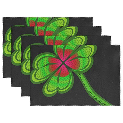- YUMOING Clover Cloverleaf Klee Leaf Plant Shamrock Placemats Set of 4 Heat Insulation Stain Resistant for Dining Table Durable Non-Slip Kitchen Table Place Mats