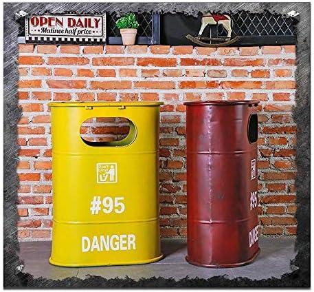 家庭用装飾収納バケット レトロな大型ゴミ箱、バー創造的な人格手作り錬鉄製燃料タンクごみ箱用リビングルーム寝室バルコニーレストラン灰皿、赤 (Color : Yellow)