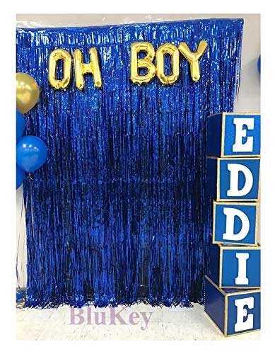 2 Packs Foil Fringe-Backdrop-Blue-3FTX8FT Metallic Door Window Curtain Tinsel Party/Birthday/Wedding/Prom Decoration (Blue) -