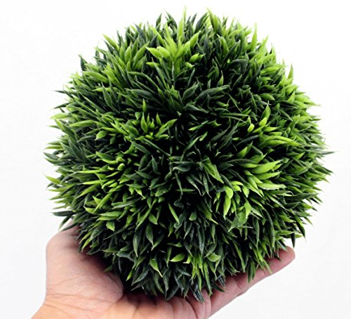 Silk Road Tin - Artificial Grass Ball Topiary 7 Inch Home Decor and Wedding