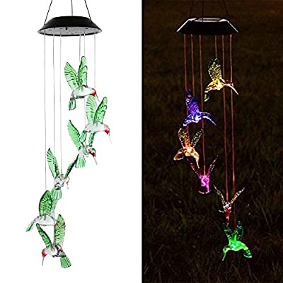 SINLOOG Color-Changing LED Solar Mobile Wind Chime, Solar Powered LED Hanging Lamp Wind Chime Light Wind Chimes for Outdoor Indoor Gardening Lighting Decoration Home (Hummingbird)