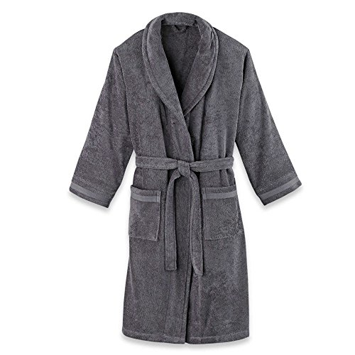 Frette at Home Size Large/Extra Unisex Milano Terry Bathrobe in Anthracite by Frette Home