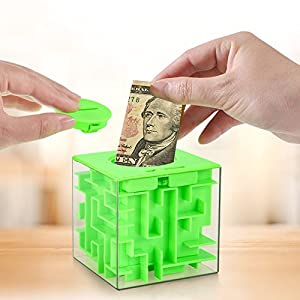 ANGELS --Portable MONEY BOX MAZE COIN BOX PUZZLE SAVING BANK 3D CUBE HOLDER PIGGY BANK