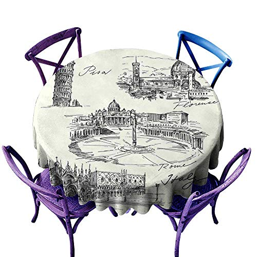 WinfreyDecor Sketchy Elegance Engineered Tablecloth Travel The World Themed Historical Italian Landmarks Venice Rome Florence Pisa Great for Buffet Table D43 Black White