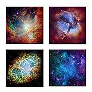 Kreative Arts - Canvas Prints Wall Art Cosmic Cloud Orion Nebula and Crab Nebula Modern Wall Decor Stretched Gallery Canvas Wrap Giclee Print Ready to Hang (20''x20''x4pcs/set, Multi)
