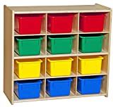 Contender C16123F Baltic Birch 12-Cubby Storage Unit w/Colorful Tubs-Assembled