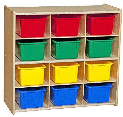 Baltic Birch 12 Cubby Storage (Contender C16123F Baltic Birch 12-Cubby Storage Unit w/Colorful Tubs-Assembled)