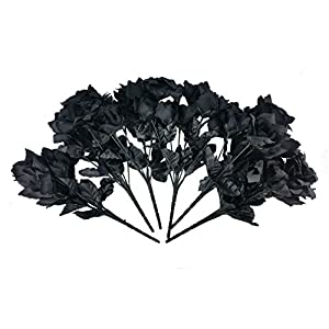 MM TJ Products Artificial Black Roses Bouquet (One pack of 6 bouquets) 118