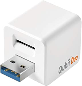 Qubii Duo USB-A Photo Storage Device for iPhone & Android Type-C Phone, Auto Backup Photos & Videos [microSD Card Not Included]- White