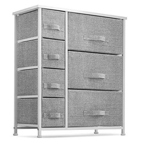 7 Drawers Dresser - Furniture Storage Tower Unit for Bedroom, Hallway, Closet, Office Organization - Steel Frame, Wood Top, Easy Pull Fabric Bins Gray/White,seseno
