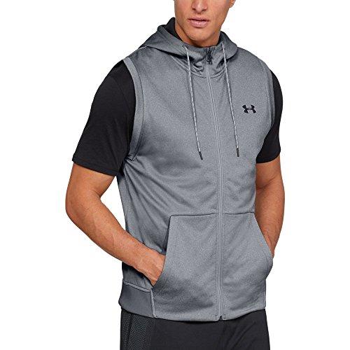 Tall Full Zip Fleece (Under Armour Men's Armour Fleece Sleeveless Full Zip Hoodie, Steel Light Heather (035)/Black, X-Large)