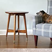 Mid-Century, Transitional End Table with Walnut Finish - 3184426. Tapered Legs Capped with Brass Finished Brackets and Cross Base for Aesthetics and Support. Assembly Required