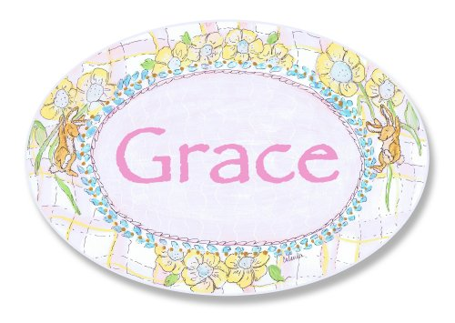 The Kids Room by Stupell Grace, Bunnies Playing with Flowers Personalized Oval Wall Plaque -